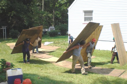 We Protect Your Lawn From Damage With Plywood